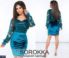 Красивое женское платье бархат + сетка с напылением.Размеры: 42, 44, 46