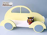 Полка-машина в дитячу для книжок та іграшок червоного кольору 70см