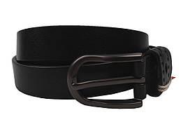 Ремень стильный женский кожаный, цвет черный (длина 115 см, ширина 2 см)