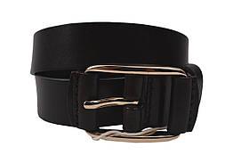 Ремень стильный женский кожаный, цвет черный (длина 115 см, ширина 3 см)
