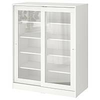 IKEA SYVDE Шкаф со стеклянной дверью, белый, 100x123 см (304.395.65)
