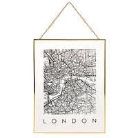 Декор настенный Карта на стекле, Лондон