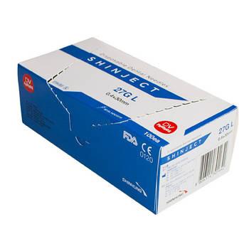 Игла стоматологическая SHINJECT 27G L (0.4x30мм), голубая, метрический тип (100 шт)