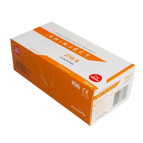Игла стоматологическая SHINJECT 27G S (0.4x21мм), оранжевая, метрический тип (100 шт)
