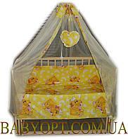 """Постельное бельё Baby """"Мишки спят желтый"""" 10 элементов желтый"""
