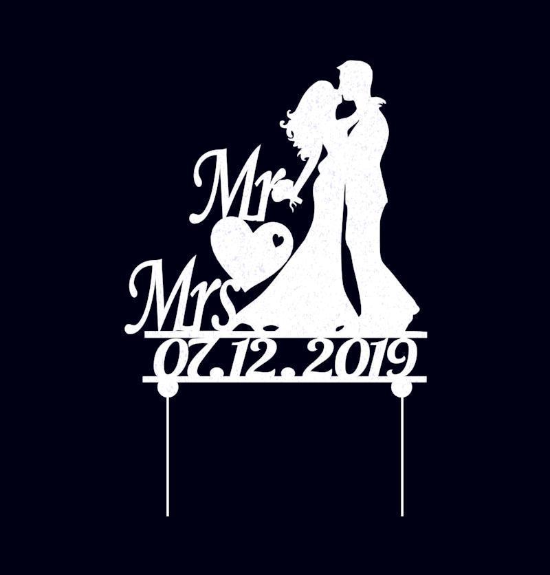 Індивідуальний Весільний топпер Mr&Mrs з датою весілля Пластикові топпери Топпери в блискітках Топпери на замовлення
