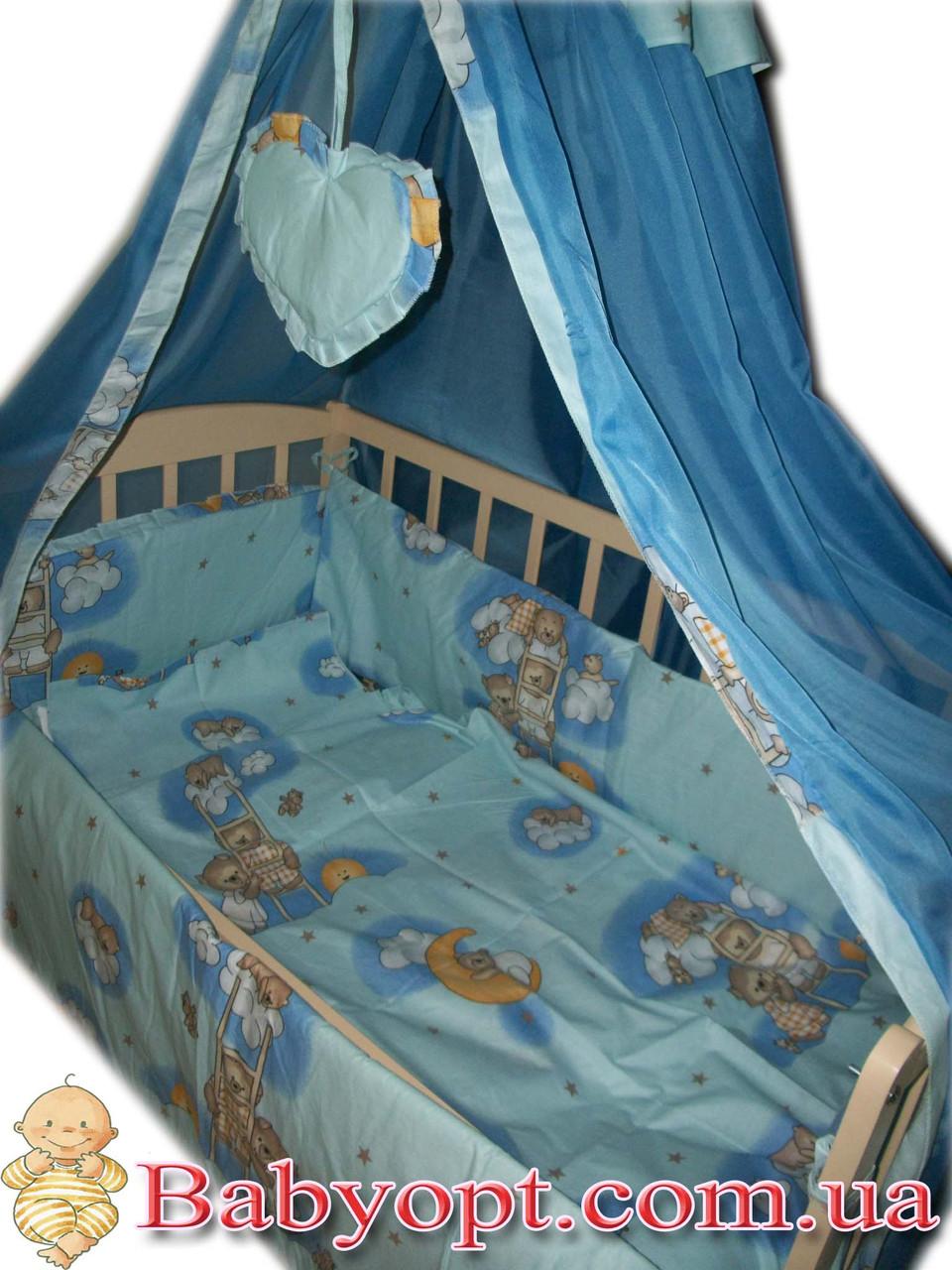 """Постельное  для новорожденных 8 элементов ТМ """"Baby"""" """"Мишки на лестнице"""" голубой"""