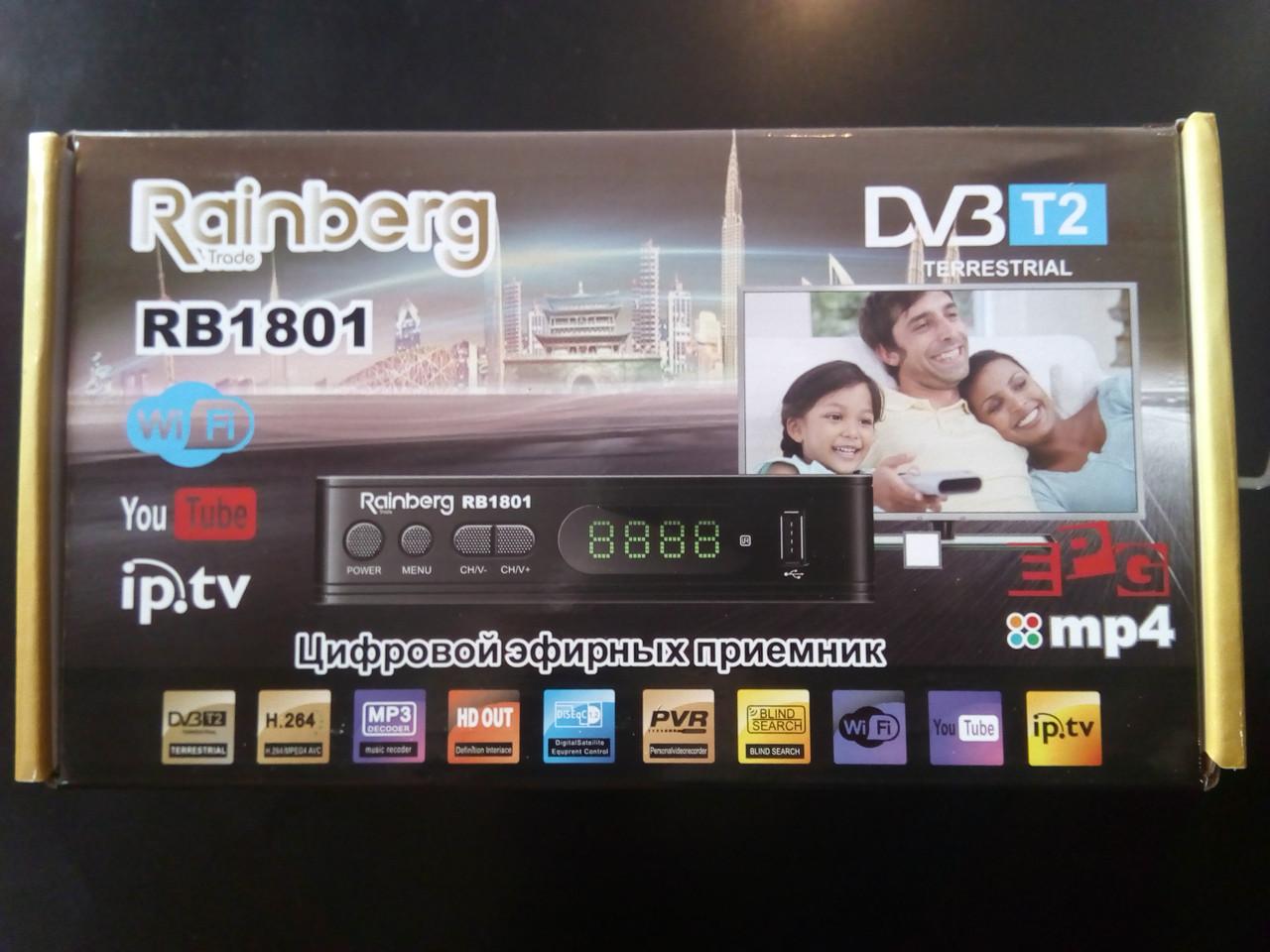 DVB-T2 телевизионный цифровой тюнер Rainberg 1802 с интернетом WI-Fi, Youtube