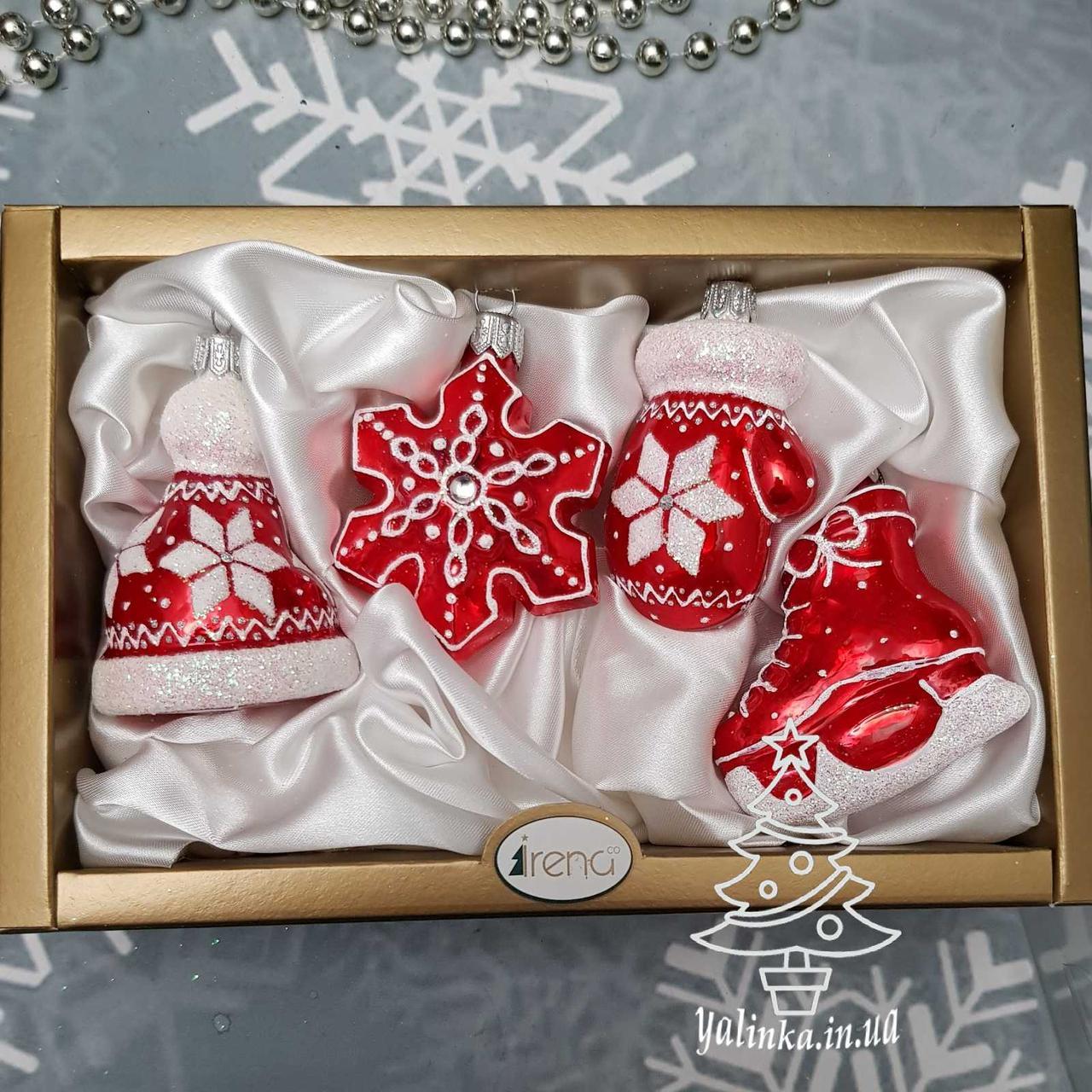 Набір скляних ялинкових іграшок Шапка, сніжинка, рукавиця і коник Irena