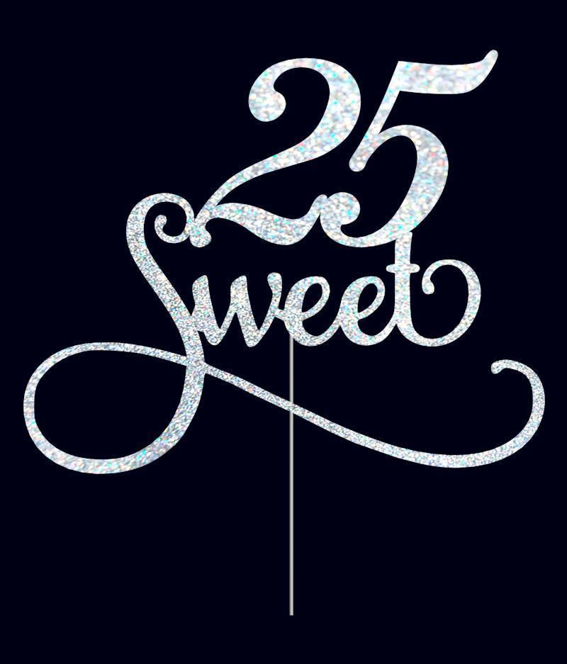 Топпер Sweet 25 на торт,топпер сладких 25, топеры на торт, топперы в блестках, топпер 25 лет, топперы