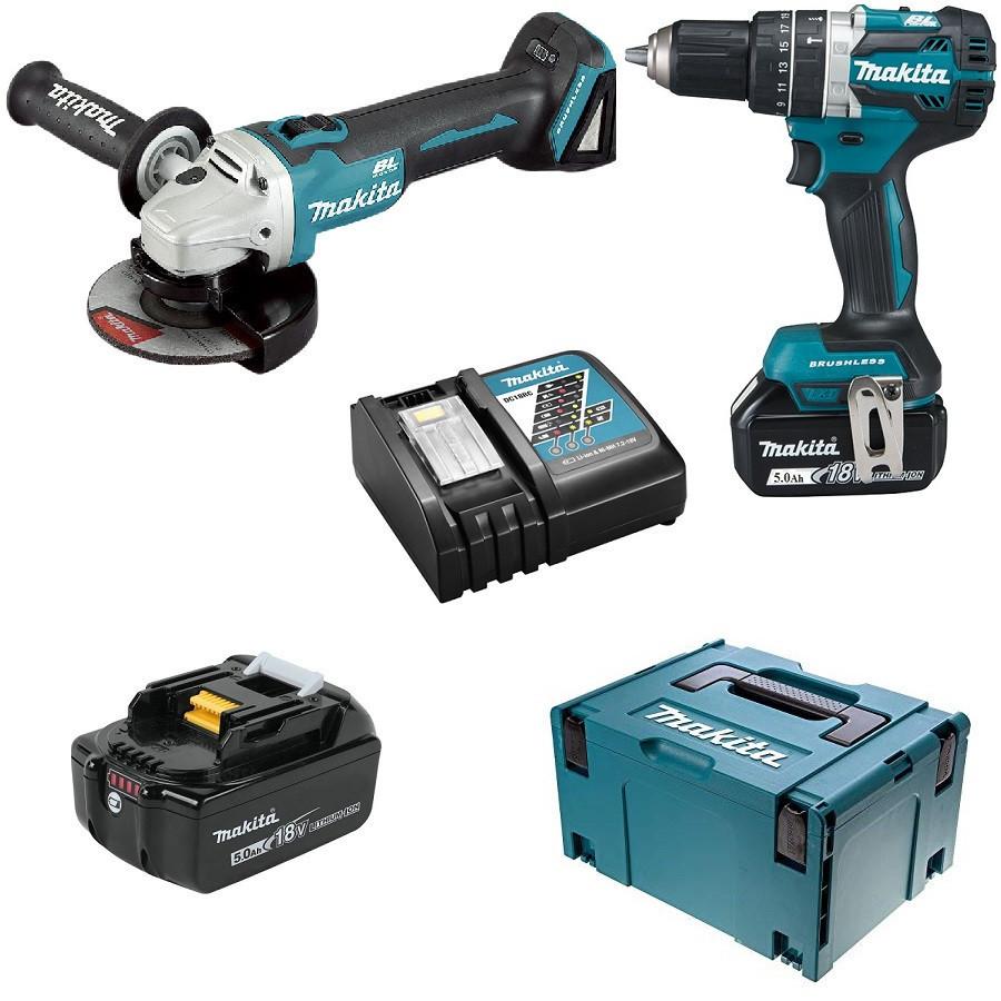 Набор инструментов Makita DHP 484 + DGA 506 + аккумулятор (2 шт) и зарядное устройство