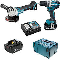 Набор инструментов Makita DHP 484 + DGA 506 + аккумулятор (2 шт) и зарядное устройство, фото 1