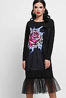 GLEM Роза платье черное с сеткой Луиза д/р
