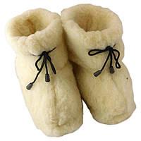 Чуни мужские из шерсти мериносовой овчины со шнурками и плотной резиновой подошвой
