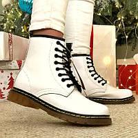 Женские зимние ботинки в стиле Dr. Martens 1460 White с мехом
