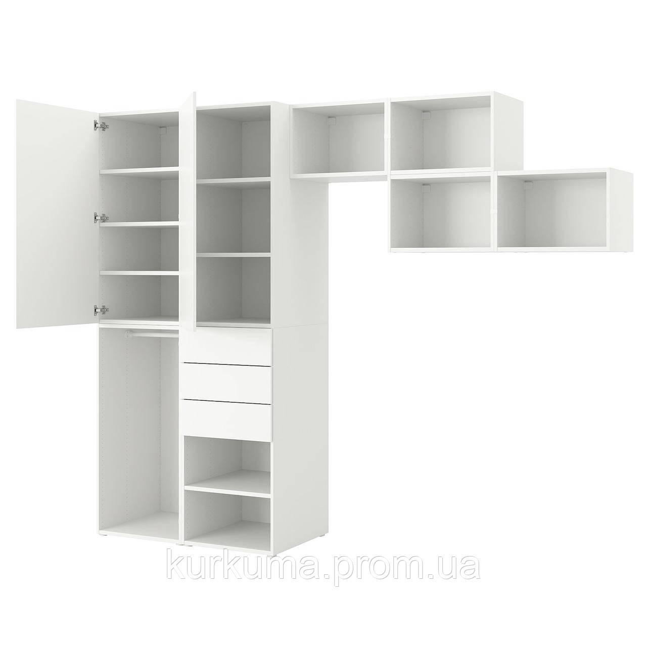 IKEA PLATSA Шкаф с 2 дверями и 3 ящиками, Fonnes белый, 300x57x241 см (993.045.78)