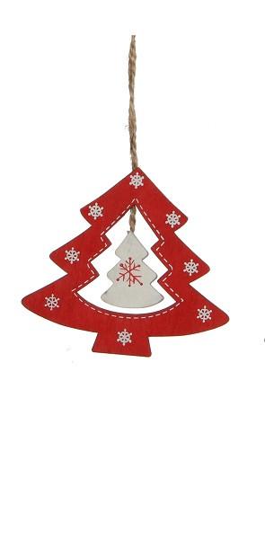 Украшение декоративное, Елка деревянная 9*8 см, House of Seasons, цвет красный