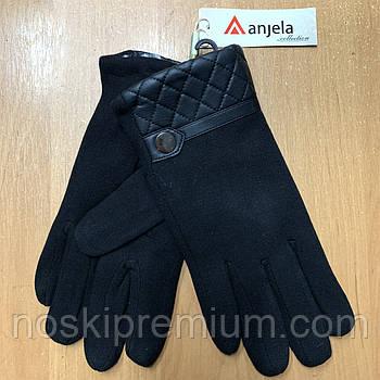 Перчатки мужские трикотаж на меху Anjela, чёрные, М012