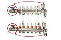 """Коллектор с расходомерами и запорными вентилями 1"""" х12  ICMA К 025 (Италия)"""