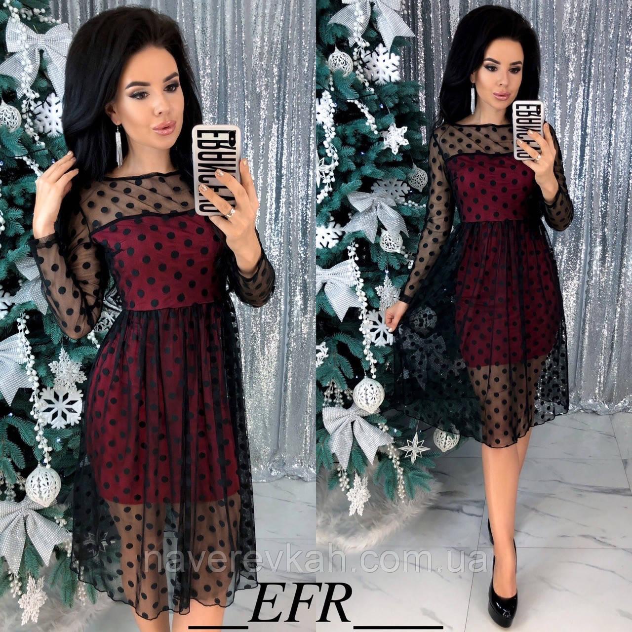 Женское новогоднее нарядное платье сетка трикотаж чёрный , бежевый , красный с чёрной сеткой С-М,Л-ХЛ
