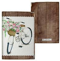 Обложка на паспорт Велосипед с цветами