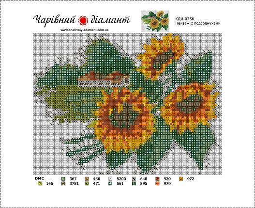 КДИ-0756 Набор алмазной вышивки Пейзаж с подсолнухами-2, фото 2