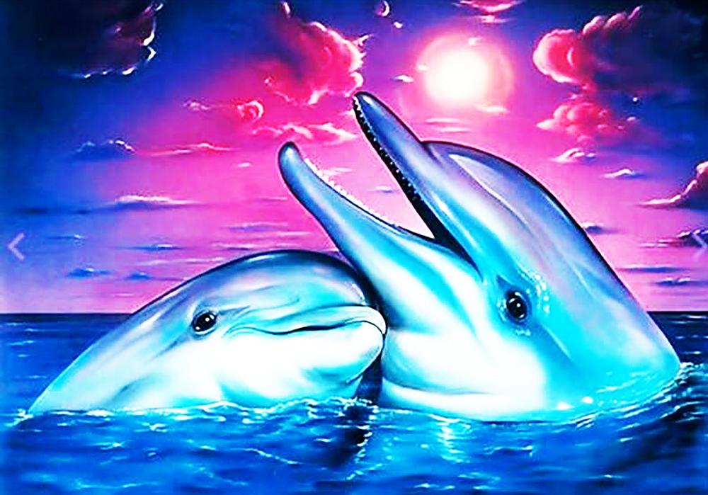 КДИ-0767 Набор алмазной вышивки Пара дельфинов-2