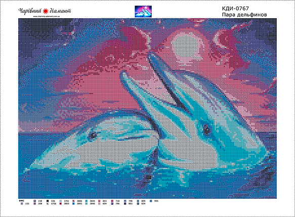 КДИ-0767 Набор алмазной вышивки Пара дельфинов-2, фото 2