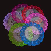 Салфетка цветочная 30см. прозр.+рис. Цветные
