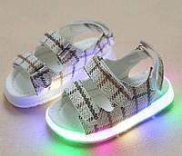 Босоножки детские LED белые в клеточку