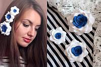 """""""Морские розы"""" комплект заколок с цветами ручной работы(3шт), фото 1"""