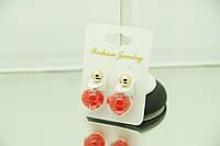 Красные прозрачные серьги пусеты (матрешки) под Диор оптом и в розницу в магазине Бижутерии RRR. 180