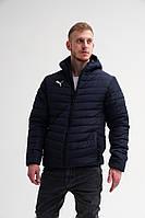 Мужская стёганная зимняя куртка в стиле Puma Dark Blue