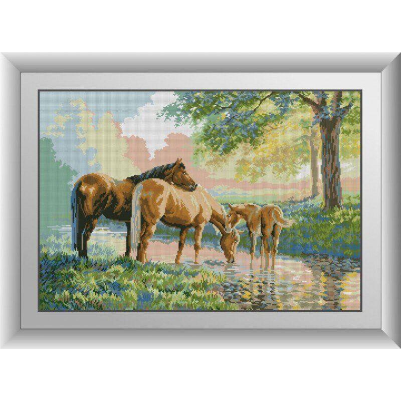 31046 Лошади на реке Набор алмазной живописи