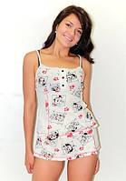 Домашний женский костюм, ночная пижама Долматинец, юбка шорты. Опт, розница. Украина.