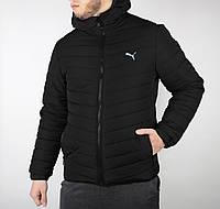 Мужская стёганная зимняя куртка в стиле Puma черного цвета