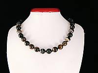 Бусы из агата, шар 12мм, черно-коричневый, фото 1