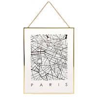 Декор настенный Карта на стекле, Париж
