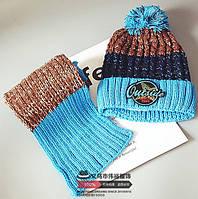 Шапка + шарф зимние Outside голубые