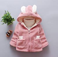 Пальто для девочек весна-осень с ушками розовое