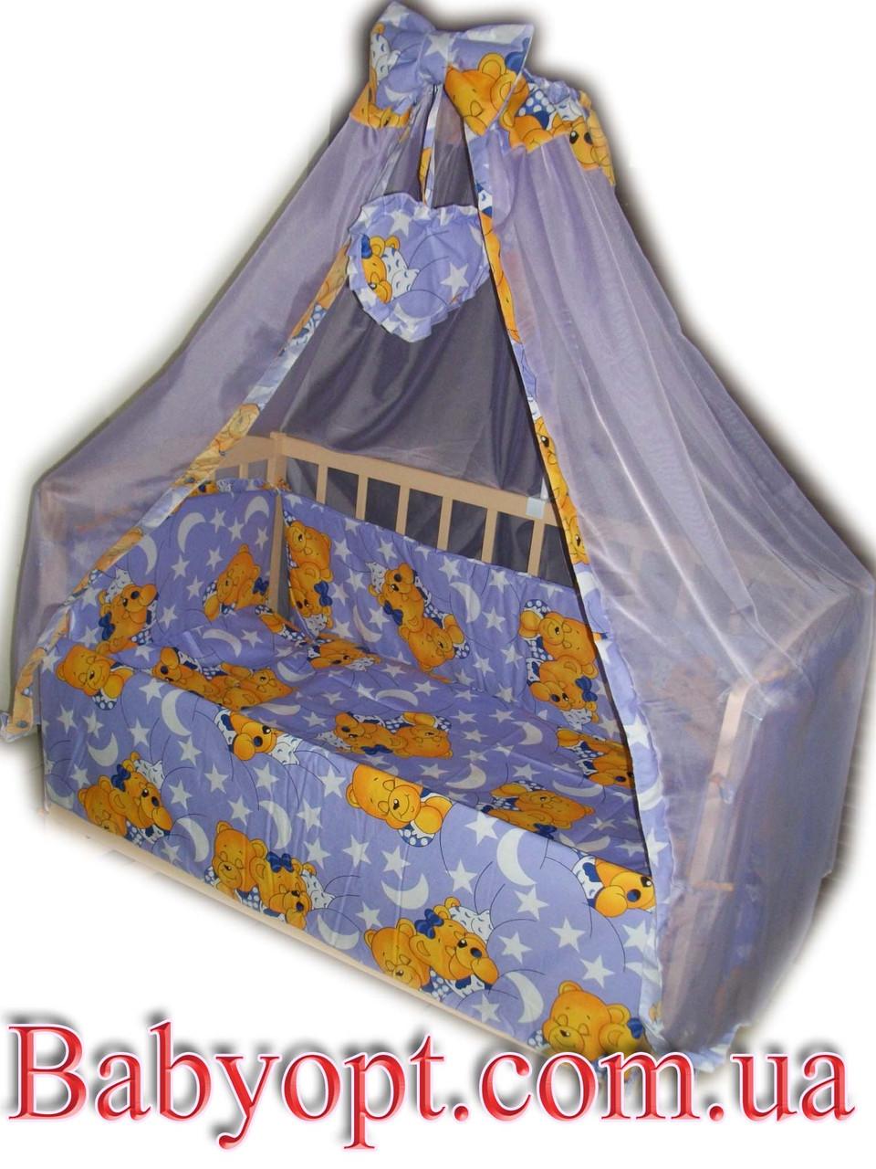 """Постельное бельё в детскую кроватку """"Элит"""" Baby """"Мишки спят сирень"""" 10 эл."""