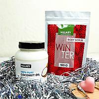 Набор косметики Hillary. Кокосовое масло рафинированное, 500мл, Скраб для тела Winter и Мылко R132699