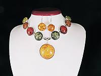 """Набор из янтарной смолы """"круг"""", фото 1"""