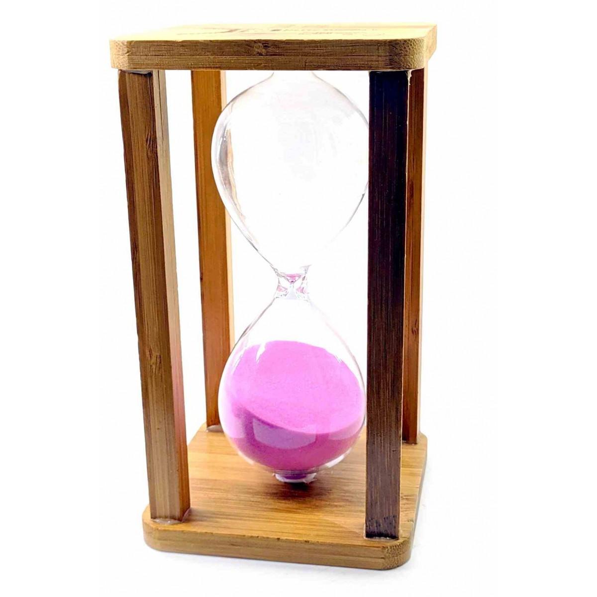 Часы песочные бамбуковые 60 мин розовый песок 19х10х10 см