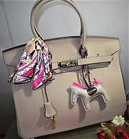 Женская кожаная брендовая сумка 25 см цвет светло оливковый Original quality