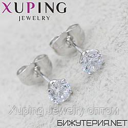 Серьги Xuping медицинское золото Silver - 1032940567