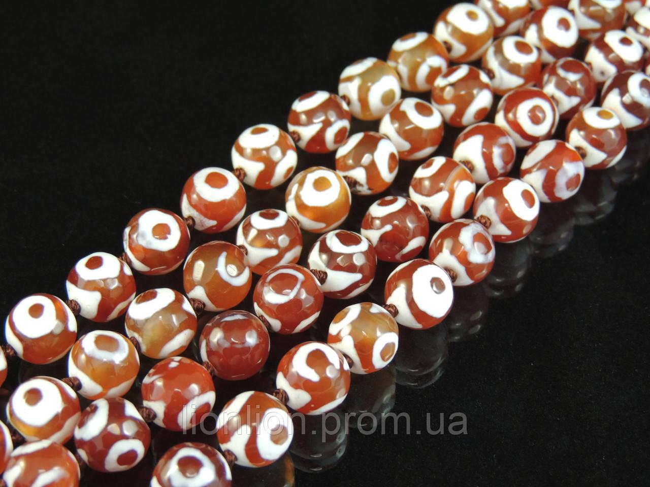 Бусы из глазкового агата,оранжевые,шар 10мм грань
