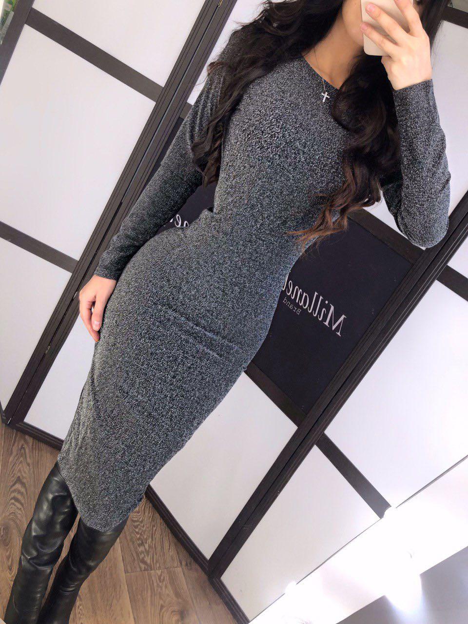 """Женское трикотажное платье карандаш, с люрексом  """"Grey"""""""
