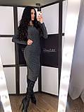 """Женское трикотажное платье карандаш, с люрексом  """"Grey"""", фото 3"""