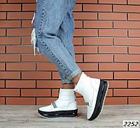 39,40 размер Зимние белые ботинки кожа на платформе
